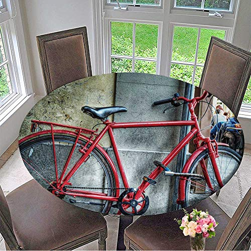 Mikihome Picnic Circle Table Cloths red Bicycle Against a Wall in Florence,Italy for Family Dinners or Gatherings 63