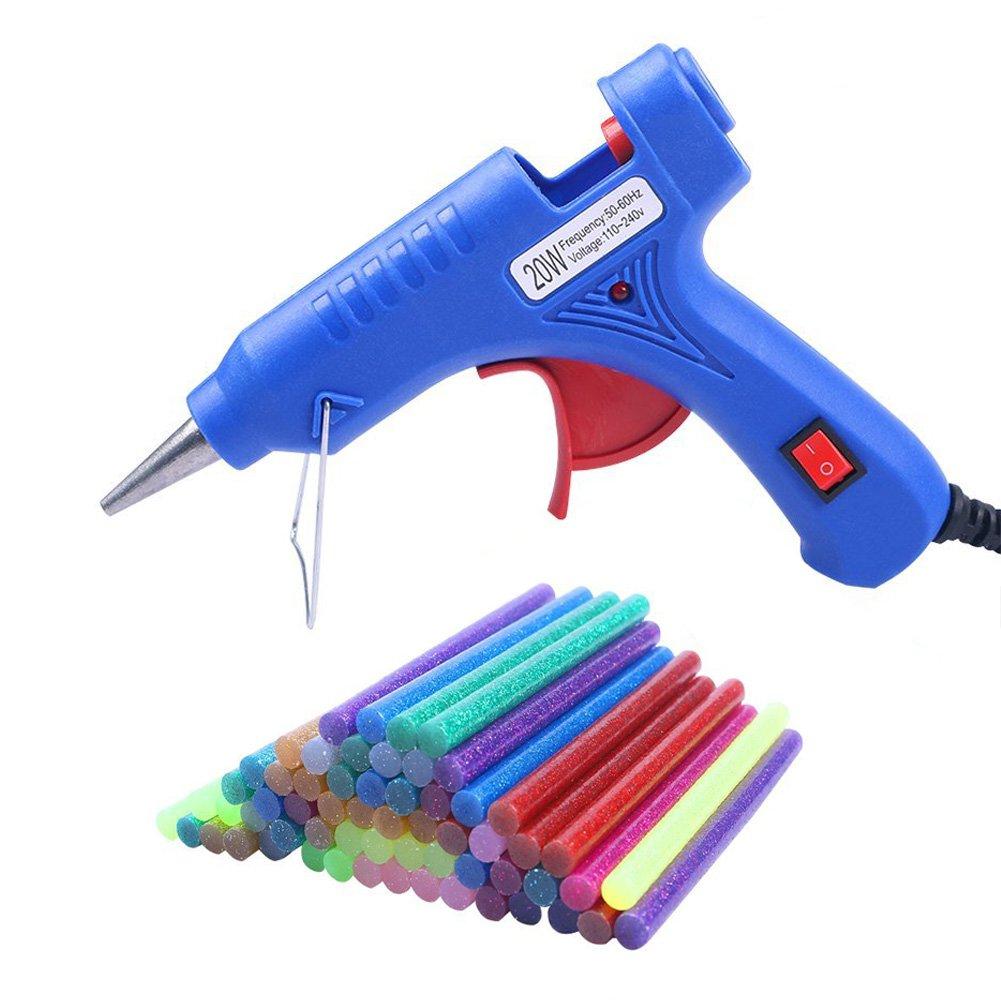 COCODE Hot Glue Gun with 60 Mini Glitter Hot Melt Glue Sticks 0.27'' x 3.93'' for Art Craft Project Holiday Decoration Cardboard Making DIY Repair