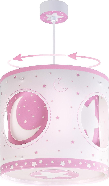 DALBER, Lampada da soffitto rotante, a sospensione, motivo: Luna e stelle 63234S