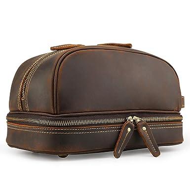 62211d2dd6f8 Tiding Handmade Men s Genuine Leather Toiletry Bag Waterproof Shaving Dopp  Kits Organizer