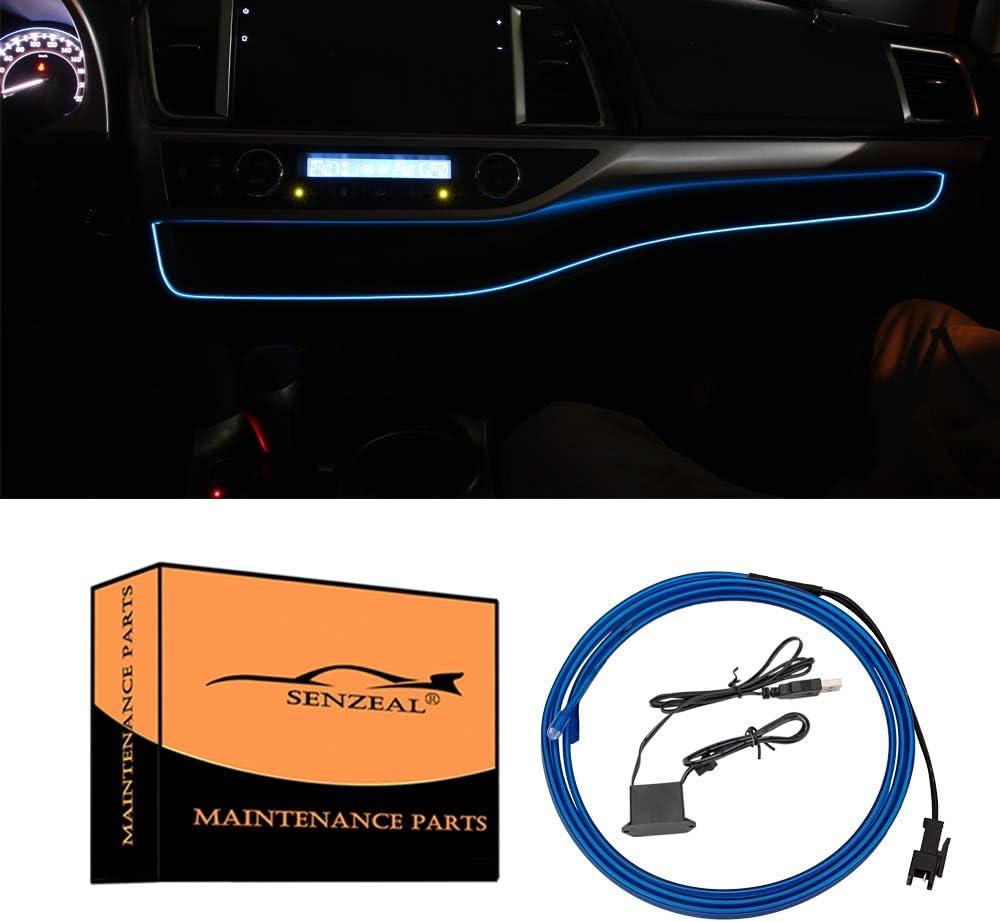 Senzeal 1M/39Inch Car LED Strip Light, Neon Panel Gap String Strip Light Interior Decor Atmosphere Strip Lamp PVC Glowing Wire Lamp for Toyota Highlander 2014 2015 2016 2017 2018 2019 Blue