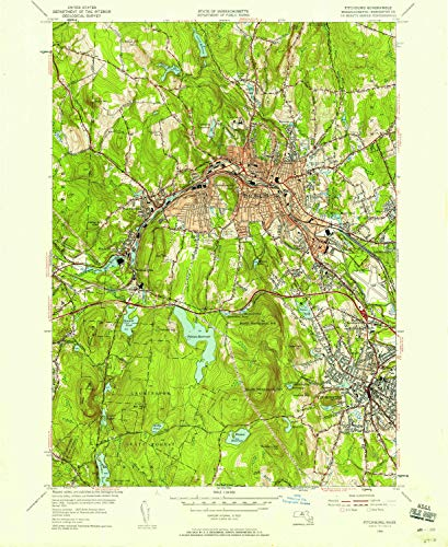 Hill Rollstone (YellowMaps Fitchburg MA topo map, 1:24000 Scale, 7.5 X 7.5 Minute, Historical, 1954, Updated 1958, 26.8 x 22 in - Tyvek)