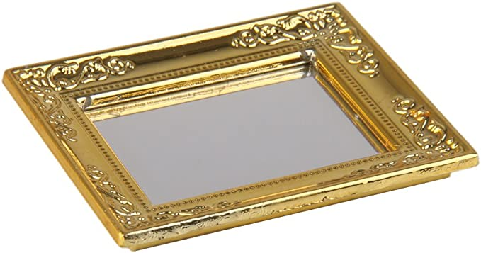 Dolls House Miniature Mirror Royal Wedding Gold Frame 1:12 I0F6