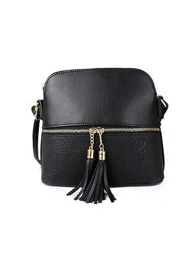 Women s Tassel Charm Floral Print Small Handbag Crossbody Messenger  Shoulder Bag (Black) adea408d01282