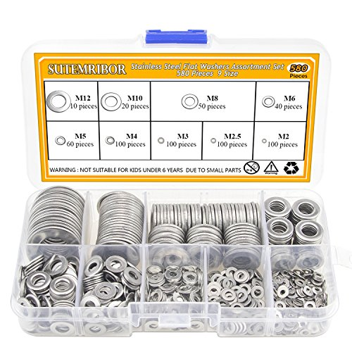 Sutemribor 304 Stainless Steel Flat Washers Set 580 pcs, 9 Sizes - M2 M2.5 M3 M4 M5 M6 M8 M10 M12