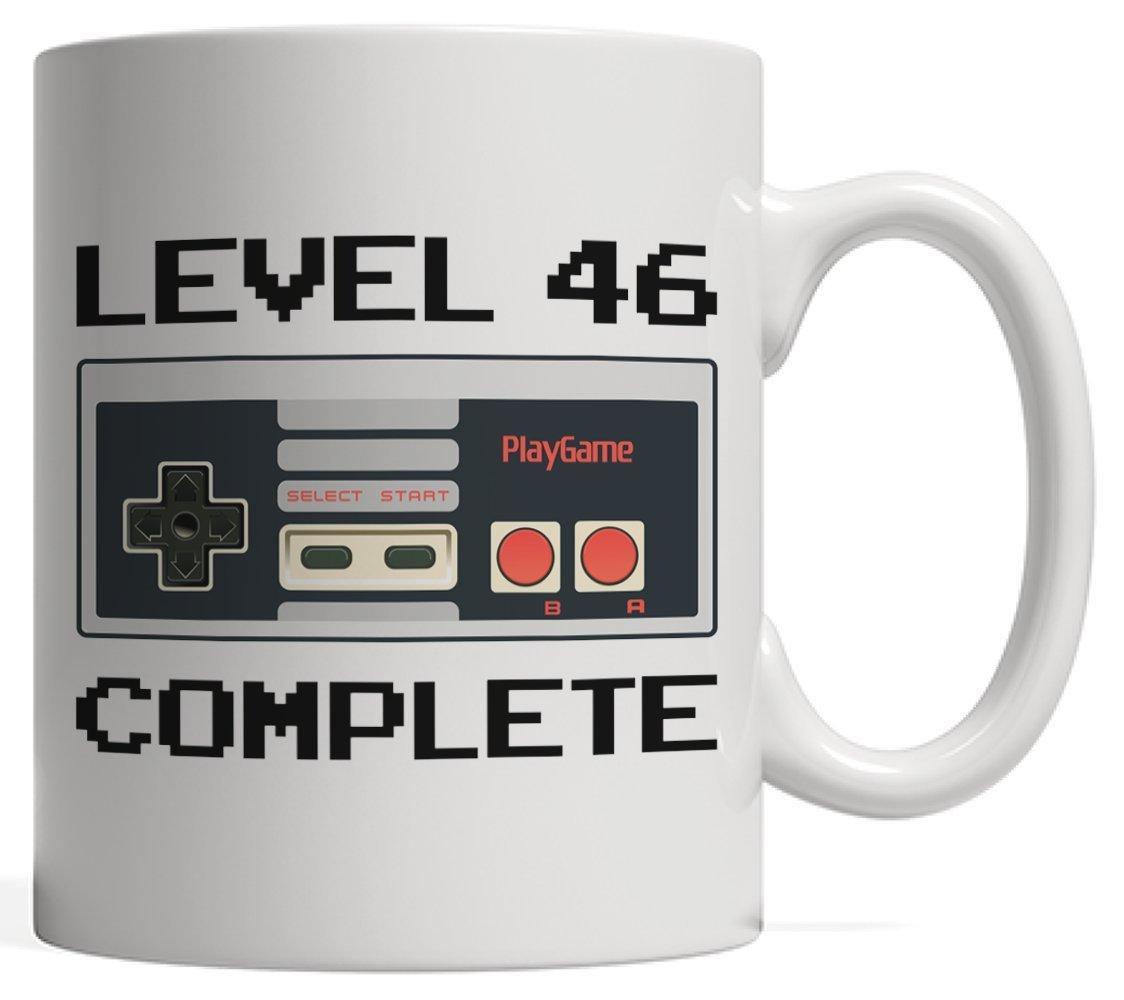 レベル46完了、ゲーマー誕生日マグ|ビデオゲーム恋人コントローラギフト誕生日記念日 – 6 46年古い、大人、叔父Aunt   B07D824MS8