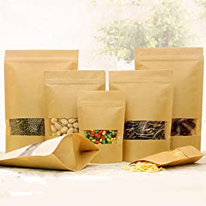 Kraft Zip Lock Paper Bags Reusable Food Bag Stand Up Pouches with Matte Window 50Pcs(7.9x11.8in)