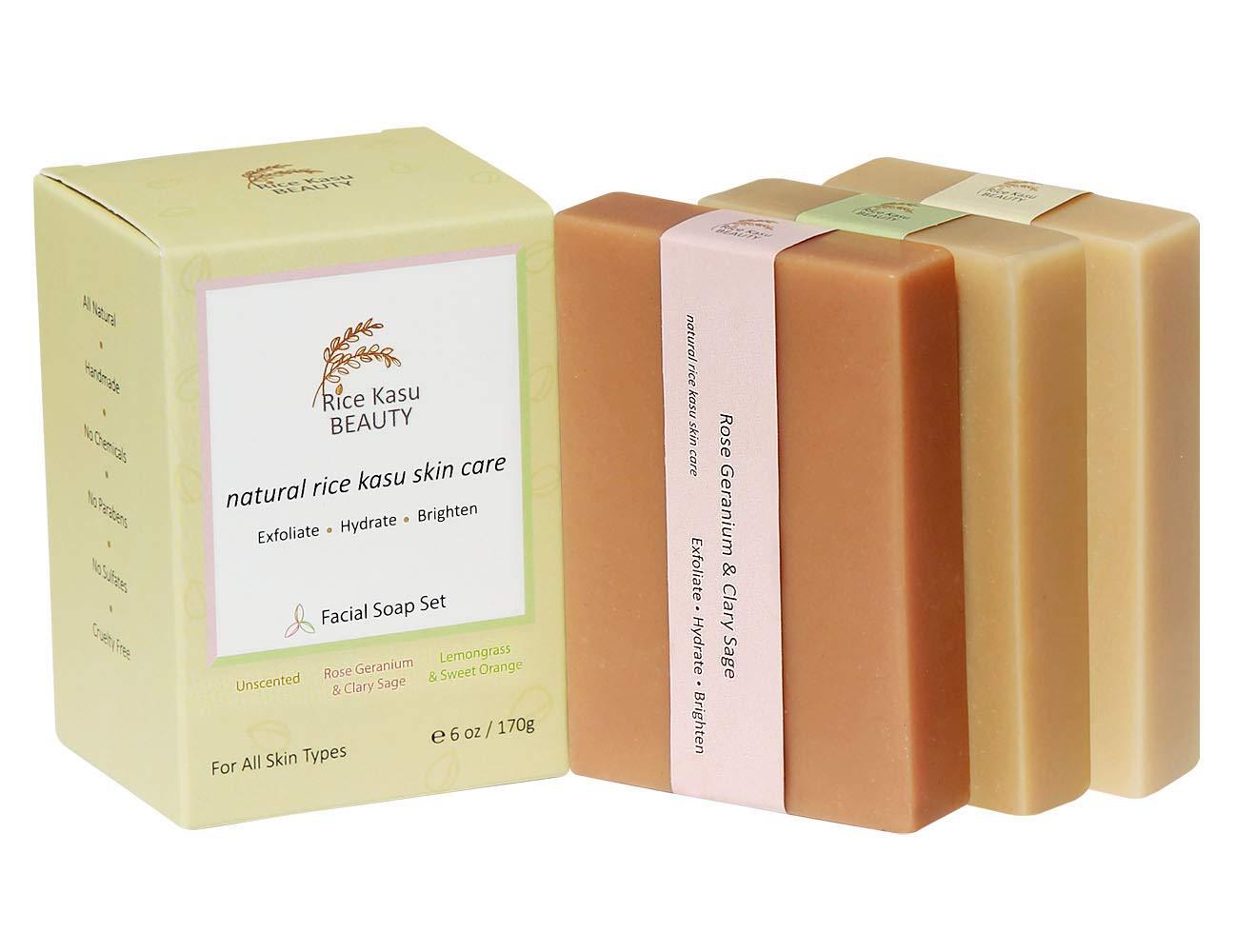 Rice Kasu Beauty 3-Piece Handmade Facial Soap Set, Unscented, Rose Geranium, Lemongrass and Sweet Orange, 6 Ounce