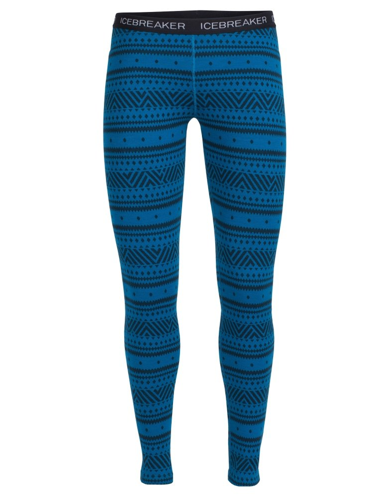 Icebreaker Merino Women's Vertex Icon Fairisle Print Leggings, Alpine/Jet Heather/Black, Small
