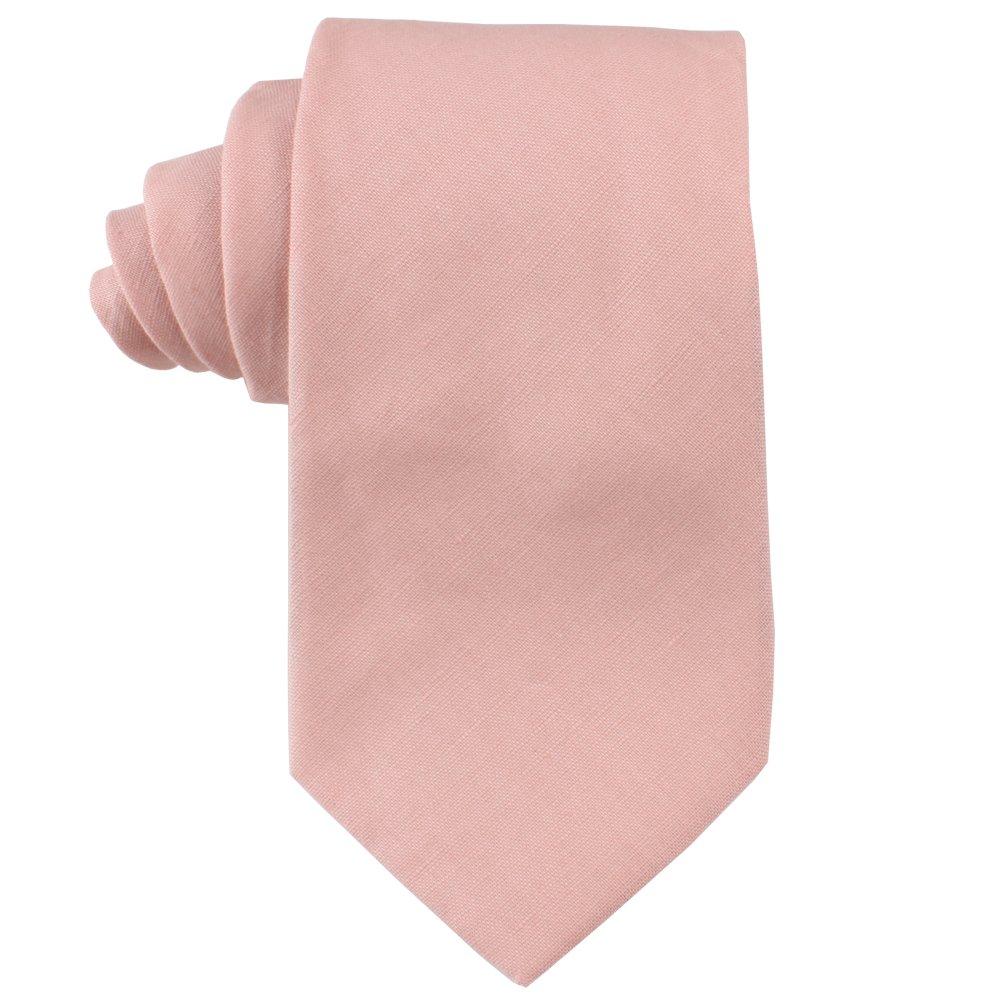 Cotton Blush Skinny Ties Linen Neckties   Wedding Ties for Groomsmen   Tie for Groom (Skinny Tie, Blush Pink)