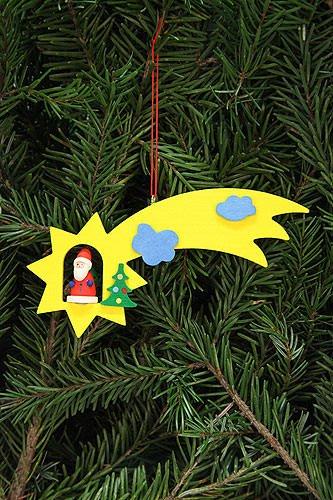 Authentic German Erzgebirge Handcraft Tree Ornaments Tree Ornament Santa Claus in Shooting Star - 12,9x5,2cm /5.1x2inch - Christian Ulbricht