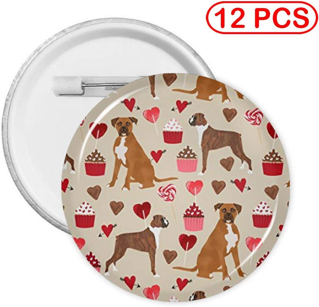 YXXZ Boxer Dog Valentines Love Cupcakes Round Badge Brooches and Pins Accessories Multiple Packs
