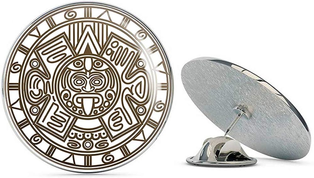 BRK Studio Pretty Simple Aztec Emblem Logo Icon Round Metal 0.75 Lapel Pin Hat Shirt Pin Tie Tack Pinback