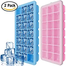 Silicone Ice Cube Trays with Lids – IHUIXINHE 2 PCS Covered Ice Cube Tray Set with 42 Ice Cubes Molds - Flexible Rubber Plastic Stackable Mini Cocktail Whiskey Ice Cube Mold Storage Containers – Blue & Pink