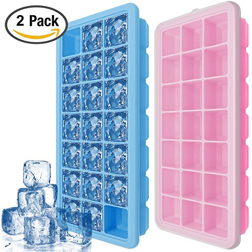 Silicone Ice Cube Trays with Lids – IHUIXINHE 2 PCS Covered Ice Cube Tray Set with 42 Ice Cubes Molds - Flexible Rubber Plastic Stackable Mini Cocktail Whiskey Ice Cube - Remove To Glasses Scratches From Ways