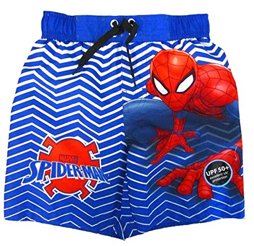 Marvel Big Boys' Spiderman Web Swim Trunk (Blue/White, 6/7) -