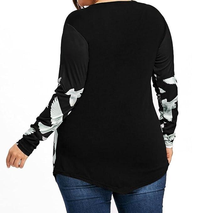 Camisetas y tops de Manga Larga Para Mujer,Koly Women Casual Talla grande Mujer Señoras Paloma Impresión camiseta Blusas y camisas Sweatshirt Ropa deportiva ...