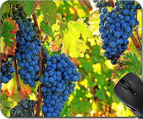 Cotes Du Rhone Grapes (MSD Natural Rubber Mousepad Mouse Pads/Mat design 33820709 black grapes and colorful leaves)
