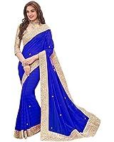 Floral trendz Women's Chiffon Saree With Blouse Piece (Priya4 Royalblue)