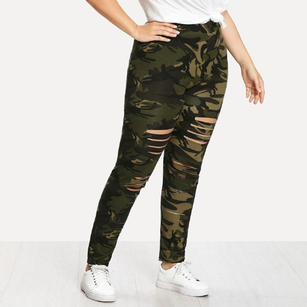 6705d29a8 BSGSH Plus Size Yoga Leggings - Womens Vintage Camouflage Distressed Ripped  Leggings Casual Stretch Pants at Amazon Women's Clothing store: