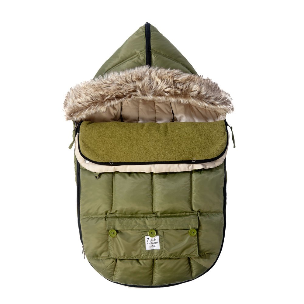 7AM Enfant ''Le Sac Igloo'' Footmuff, Converts into a Single Panel Stroller and Car Seat Cover, Army, Large