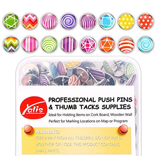 Creative Steel Thumb Tacks Soft Flat for Photos Wall, Maps, Bulletin Board or Corkboards, 100 Pieces (C-100) (Tacks Thumb Steel)