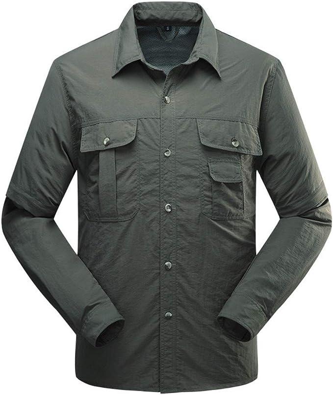Hombres Camisas de Secado rápido Extraíbles Camisetas de Deporte al Aire Libre Camisas de Manga Larga Senderismo Ropa de Campamento: Amazon.es: Ropa y accesorios
