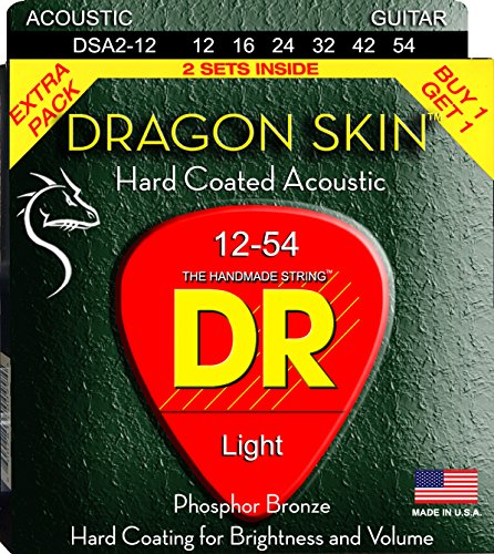 DR Strings DSA-2/12 Dragonskin Clear Coated Phosphor Bronze Acoustic Guitar Strings Value Pack
