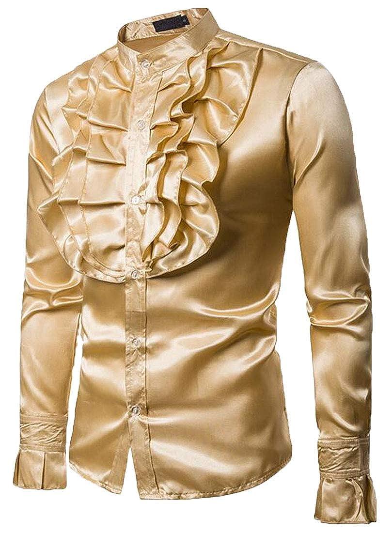 Hurrg Mens Tuxedo Shirt Long Sleeve Button Down Casual Ruffle Luxury Slim Fit Shirts