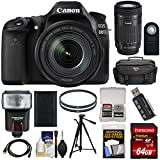 Canon EOS 80D Wi-Fi Digital SLR Camera & 18-135mm IS USM with 55-250mm IS STM Lens + 64GB Card + Battery + Case + Filters + Tripod + Flash + Kit For Sale