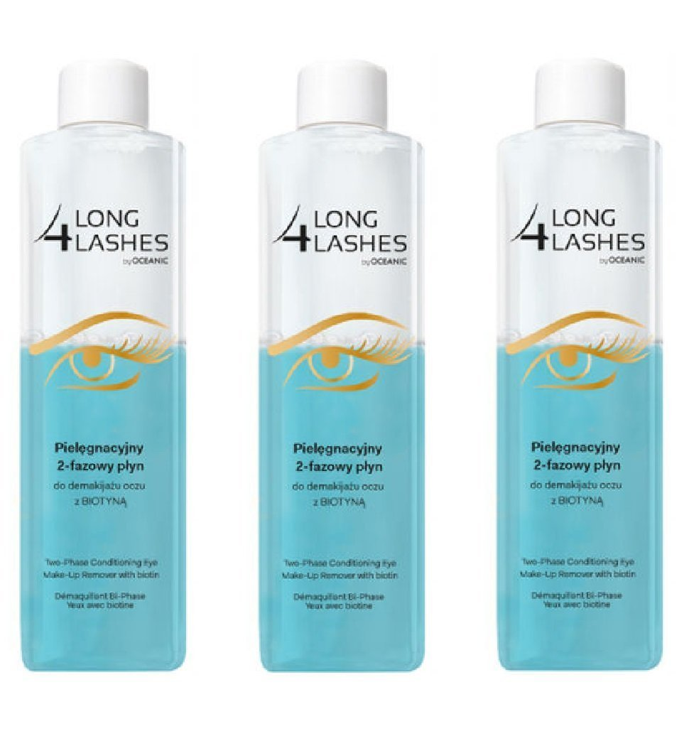 Amazon.com : Long 4 Lashes by Oceanic, Two-Phase Conditioning Eye Make-Up Remover with Biotin, 8.45 Oz (Pack of 3) + FREE LA Cross Tweezers 71817 : Beauty
