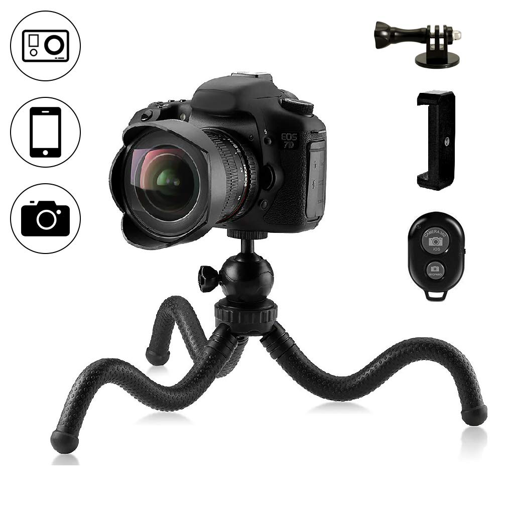 Dezuo 11.8inch Mini Flexible Phone Tripod for iPhone, Camera, DSLR, Gopro, Samsung and Other Smartphone with Universal Cellphone Mount and Gopro Adatper and Bluetooth Remote Shutter (Black) DZP-009