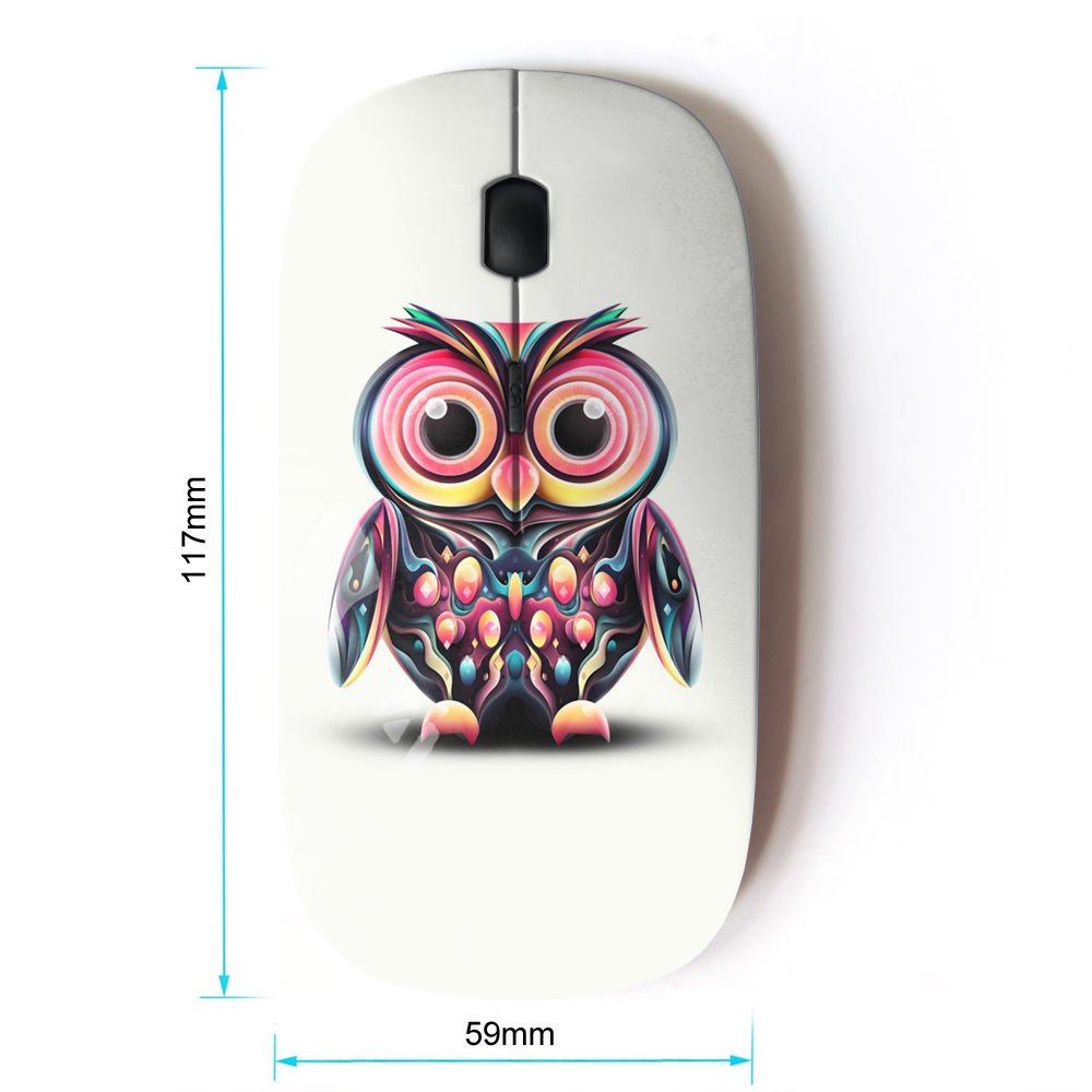 Amazon.com: KawaiiMouse [ Optical 2.4G Wireless Mouse ] Owl Pink Eyes Colorful Disco Bird Drawing: Computers & Accessories
