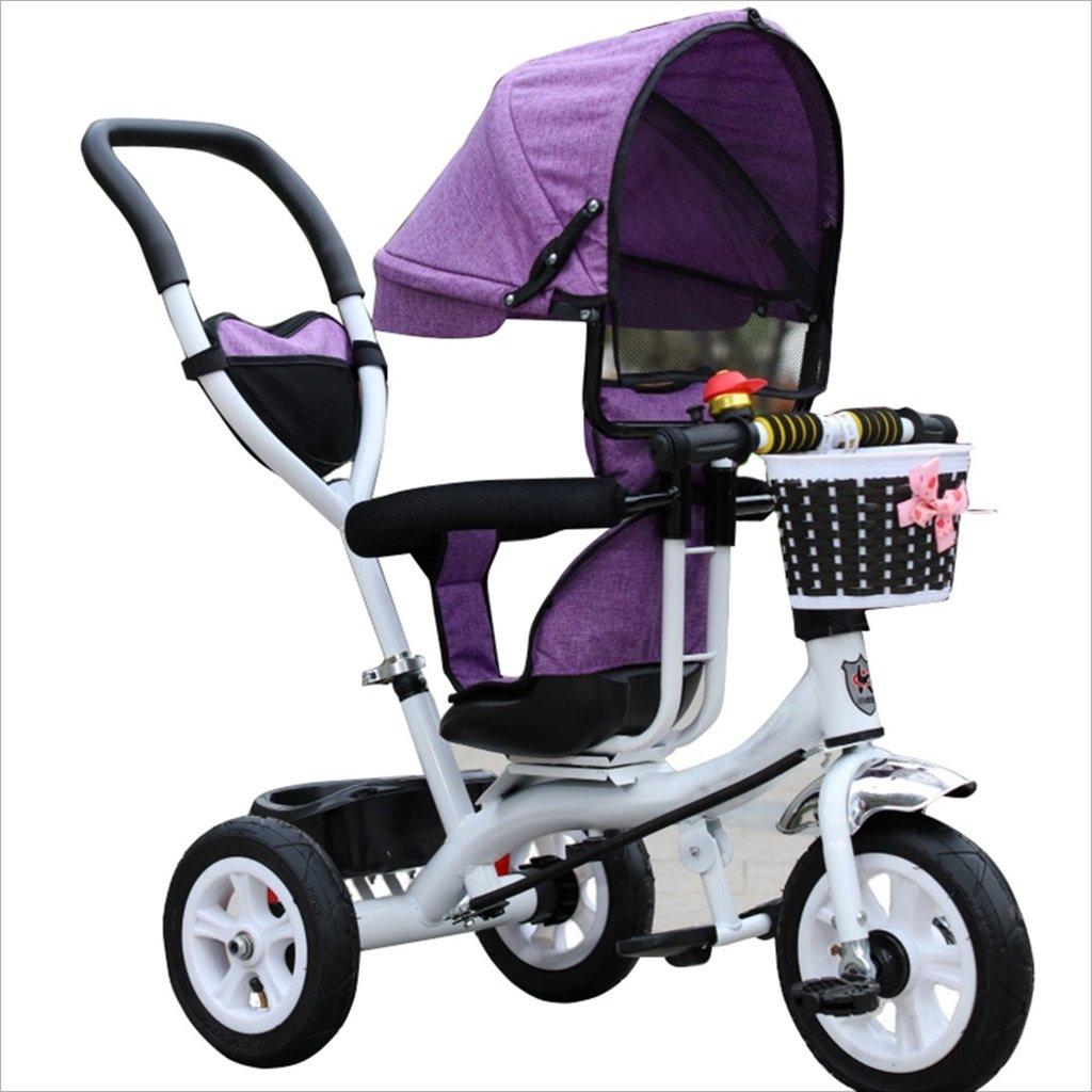 三輪車のベビーキャリッジバイク子供のおもちゃのトロリーインフレータブルホイール自転車3ホイール、回転可能な座席(ボーイ/ガール、1-3-5歳) (色 : パープル ぱ゜ぷる, サイズ さいず : B) B07DVBN1WX B|パープル ぱ゜ぷる パープル ぱ゜ぷる B