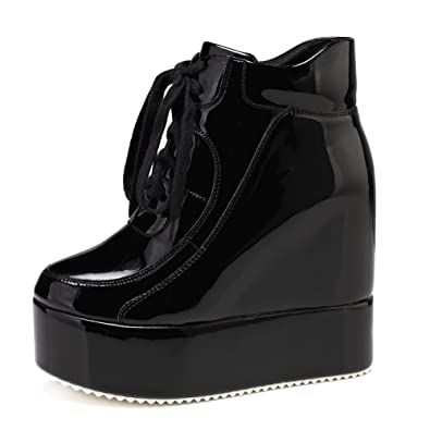 getmorebeauty Womens Black Hidden High Heel Platform Sneakers Wedge Lace up  Chelsea Punk Patent Ankle Boots f060246a88