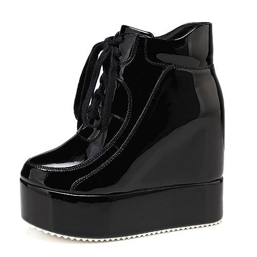 04de7679307 getmorebeauty Womens Hidden High Heel Platform Sneakers Wedge Lace Up  Chelsea Punk Patent Ankle Boots