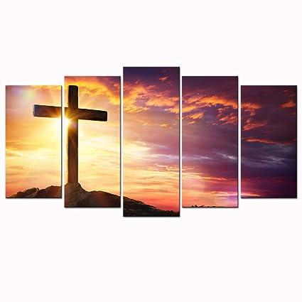 Amazon.com: Sea Charm - Christian Crosses at Sunset Canvas Prints ...