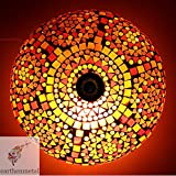 EarthenMetal Handcrafted Mosaic Decorated Circular Red Glass Ceiling Lamp (BUY ORIGINAL Earthenmetal Products ONLY FROM EARTHENMETAL)