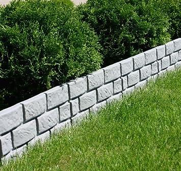 Woolux Garten Zaun Mauer Rasenkante Palisade Beeteinfassung Grau 1 ...