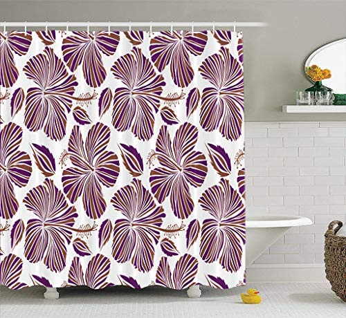 Lshtar Watercolor-Wheel-Floral Decorative Shower Curtain with 12 Hooks, Aloha Hawaiian Shirt Hibiscus White Purple and Durable Waterproof for Master Kid Guest Bathroom 72