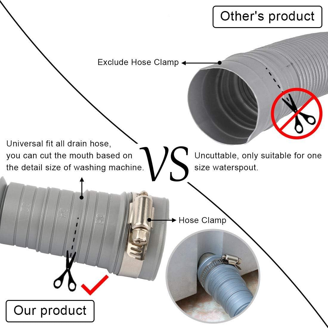 5 Fu/ß sourcing map Waschmaschine Ablassen Verl/ängerungsschlauch bis zu tragbar Waschmaschine Sp/ülmaschinen Ablaufschlauch Ersatz 150 cm