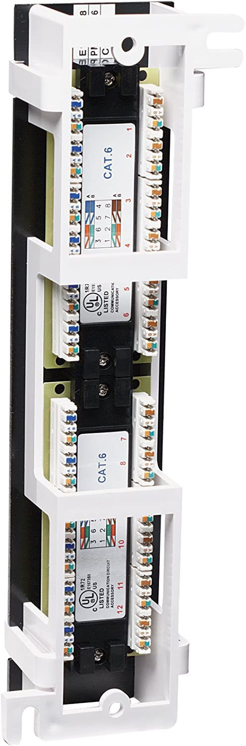 Intellinet 12 Port Cat6 Wall-Mount Patch Panel Black 560269 Connects RJ45 Ports to a Network