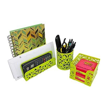 lime green office accessories. Desktop Organizer Set - 3 In 1 Office Supplies | Metal Mesh Letter Sorter,  Pen Lime Green Office Accessories C