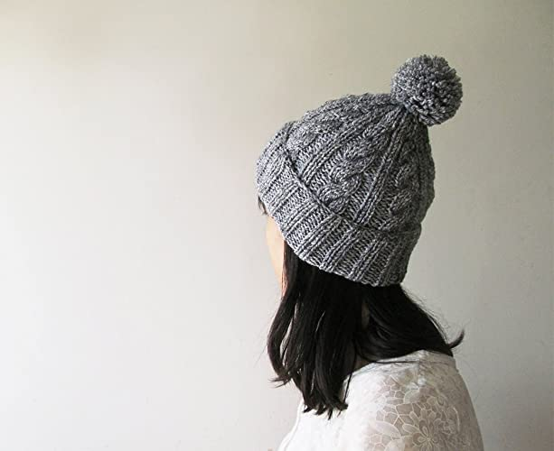 Cap pom pom Chunky Knit Hat Women Gray Hat Gray Beanie Hat Charlotte Slouchy Earflap Hat Knit Accessories Gift For Her #F133