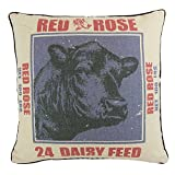 JuniperLab Shabby Chic Farmhouse Primitives Grain Sack Purple Cow with Red Rose Throw Pillow Covers 16'' French Style