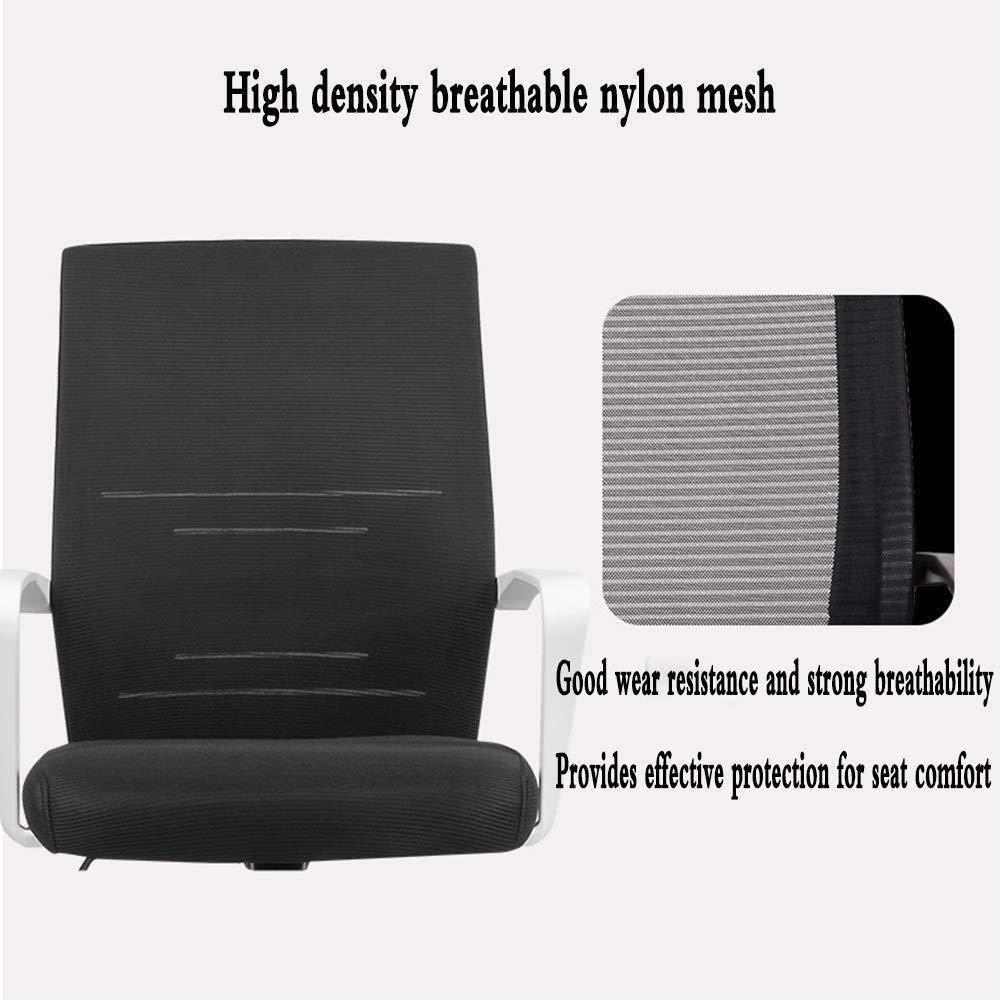 Xiuyun Mesh hög rygg svängbar kontorsstol justerbart nackstöd ergonomisk ryggstödsdesign hem dator stol skrivbord stol lutningsfunktion bärkapacitet (färg: vit) Svart