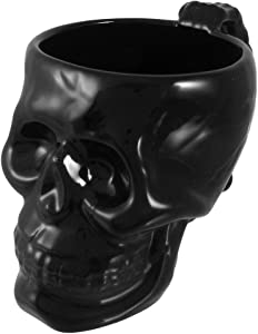 Pacific Giftware Cool Black Ceramic Skull Coffee Mug Cup Goth Evil