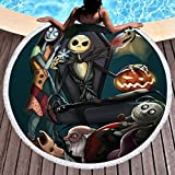 Koongso Scarecrow Style Beach Towels,Nightmare Before Christmas Print Thick Terry Beach Circle Picnic Carpet Yoga Mat With Fringe,59 Inch