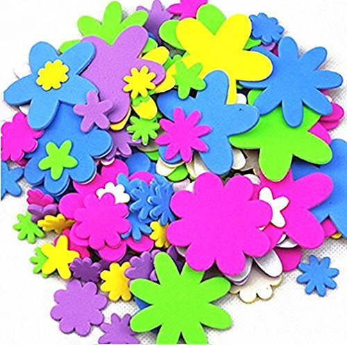 TECH-P Creative Life Self-adhesive EVA Foam Shapes Sticker,Craft Foam Stickers For Embellish cards, Posters, Scrapbooks And More-About 300 PCS (Flower)