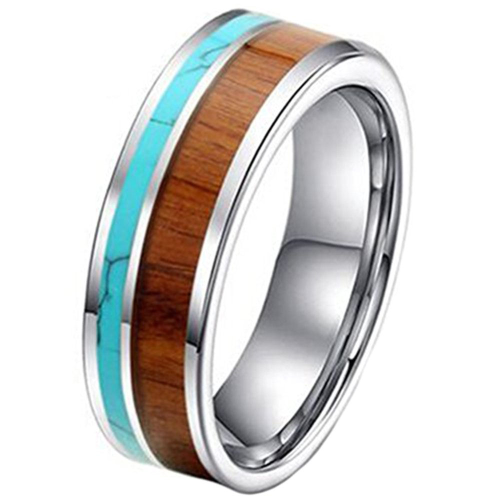 Fashion Month Mens Womens 8mm Tungsten Ring Vintage Wedding Engagement Band with 100% Koa Wood Solid Turquoise Flat Top